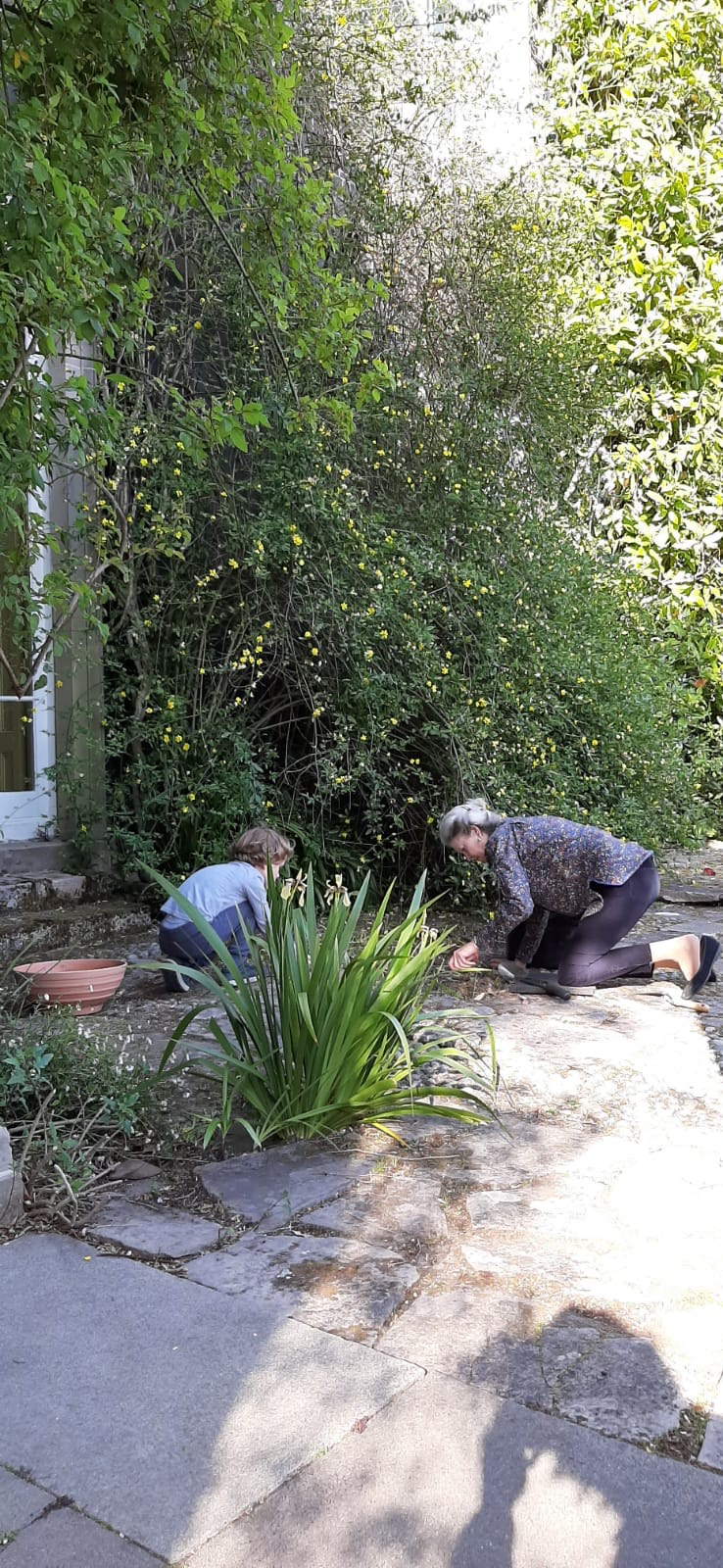 Lady Rose and her grandson tend to garden beds on Mount Stewart