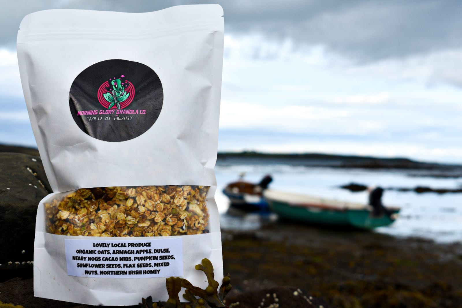 Morning Glory Granola outside photo with sea and boat in background
